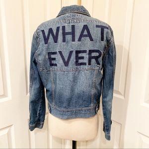 Forever 21 Embroidered WHATEVER Denim Jacket